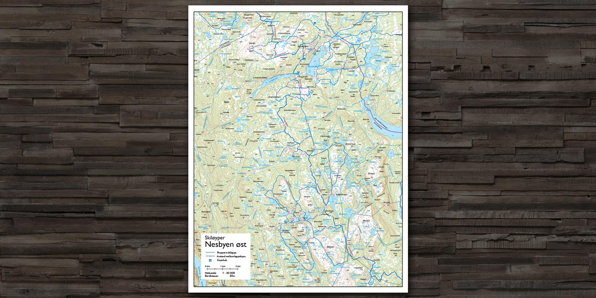 Hyttekart skiløyper i Nes Østmark